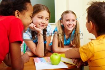 Classmates chatting