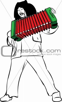 a man sings and plays accordion