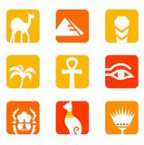 Egypt icons and design elements block isolated on white ( orange