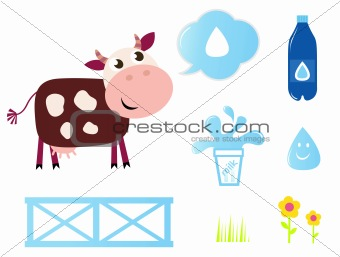 Cow, Milk and Dairy icons collection isolated on white
