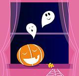 Window Halloween scene with Ghosts and orange Pumpkin head