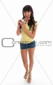Beautiful girl eating chocolate