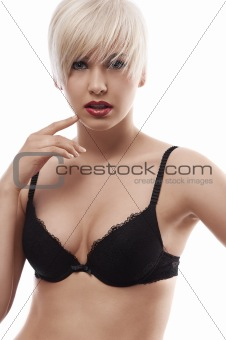 blond sensual girl in lingerie against the white background