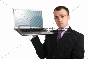 Business man holding a laptop computer