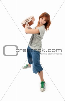 Girl smashing a guitar