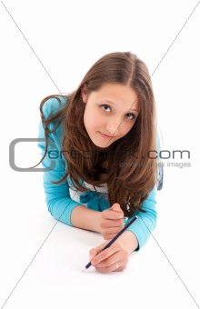 young woman draws a pencil on a white floor