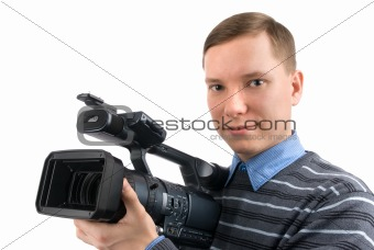 man with a videocamera