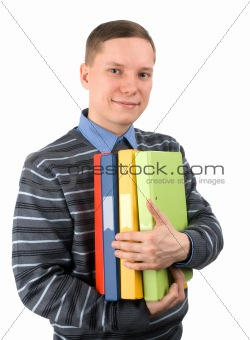 man with heap of folders looking at camera