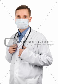 young doctor wearing a mask