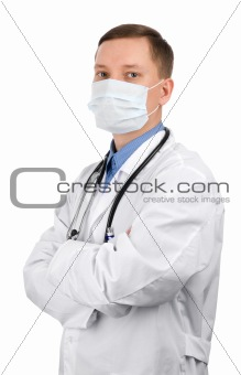 Young doctor in a mask