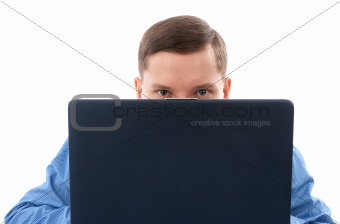 A young man using his laptop