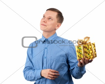 a young man offering a gift to you