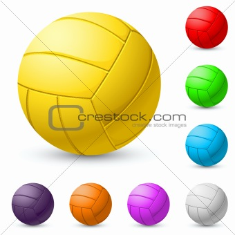Multi-colored volleyball realistic