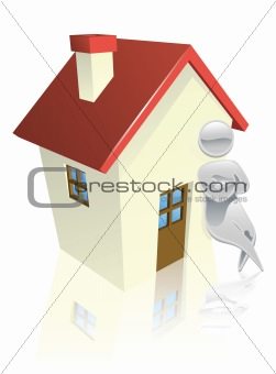 Metallic character leaning on house