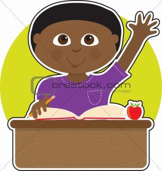 Little Boy at School Black