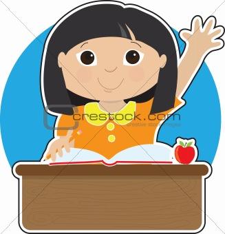 Little Girl at School Asian