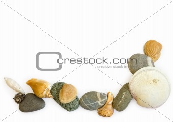 sea stones and seashells on white background