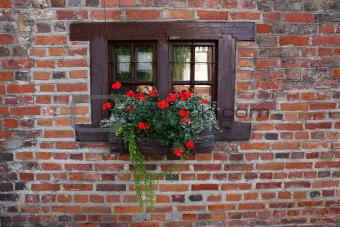 Small window of old medieval house.