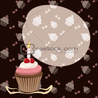 Cherry cupcake with candle