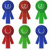 Set of six award ribbons