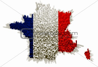 Illustration of france with flag and blocks