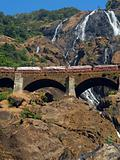 Railroad Bridge and Dudhsagar Waterfall