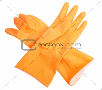 Two orange rubber gloves