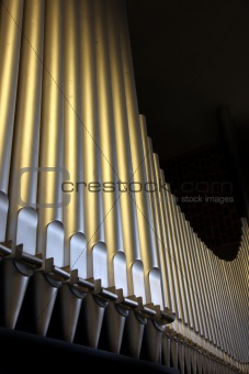 An organ in the church - close-up organ pipes
