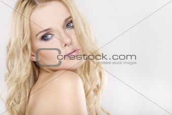 Young pretty woman with beautiful blond hairs