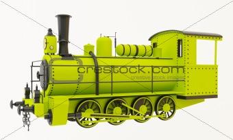 Green old steam train