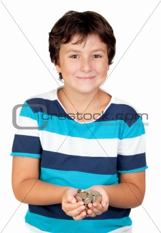 Adorable boy with a lot of coins