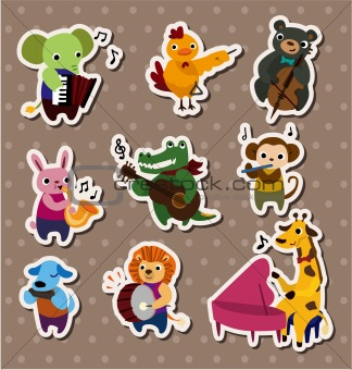 animal play music Stickers,Label