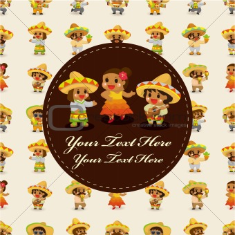 cartoon Mexican music band ,board card,vector
