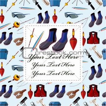 cartoon fishing equipment tools seamless pattern