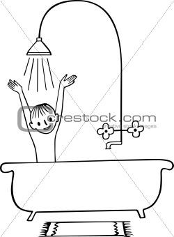 Boy taking a shower