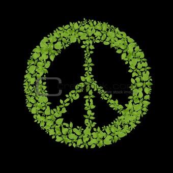 Green plant peace symbol