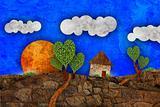 Suburban  landscape, illustration