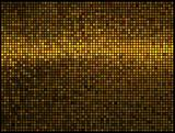 Multicolor abstract lights gold disco background. Square pixel m