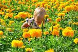Little pretty child in flowers