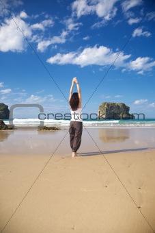 arms up woman in Ballota beach