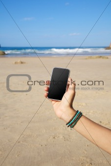 smartphone in the beach
