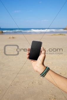 smartphone in the beach