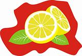 Lemon with green leaves