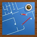 Vector illustration of blueprint, pencils and cup of coffee