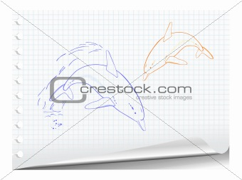 Sketchy illustration of dolphins