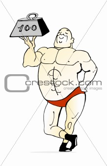 ... : Funny cartoon vector illustration of bodybuilder lifting weight