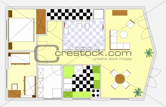 Architectural vector apartment floor plan