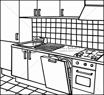 Image 4179946: Kitchen isometric line art vector from Crestock Stock