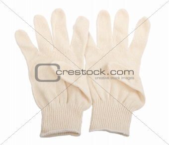Two white textile glove