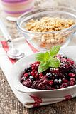 closeup of breakfast cereals with fruits and yoghurt